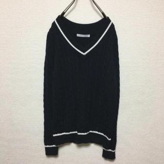 アンデミュウ(Andemiu)のAndemiu 黒×白 ケーブル編み チルデンニット(ニット/セーター)