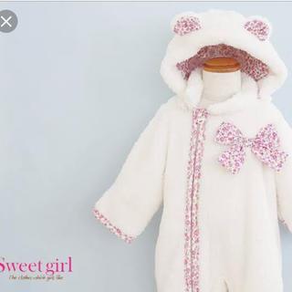 ニシキベビー(Nishiki Baby)の新品♡sweetgirl♡取り外しフード付ふわふわジャンプスーツ(ジャケット/上着)