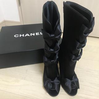 シャネル(CHANEL)のCHANEL シャネル サテンリボンブーツ 36 1/2(ブーツ)