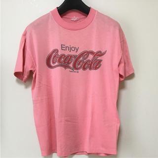 コカコーラ(コカ・コーラ)の古着 ビンテージ コカ コーラ Coca Cola Tシャツ ピンク(Tシャツ/カットソー(半袖/袖なし))