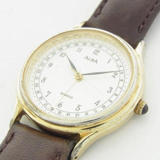 アルバ(ALBA)のセイコー アルバ レザー ベルト 腕時計 クォーツ ウォッチ 作動品 新品電池(腕時計)