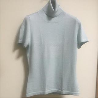 ハロッズ(Harrods)のHarrods シルク ラメ入り 半袖 タートルネック ニット(ニット/セーター)