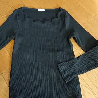 ジーユー(GU)のGU  フリルスリーブ  リブ  Mサイズ(Tシャツ(長袖/七分))