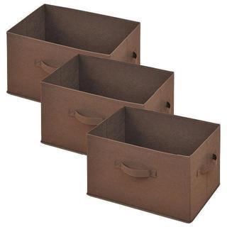 片付けサポート♪ どこでも収納ボックス 3個セット ブラウン.  (マガジンラック)