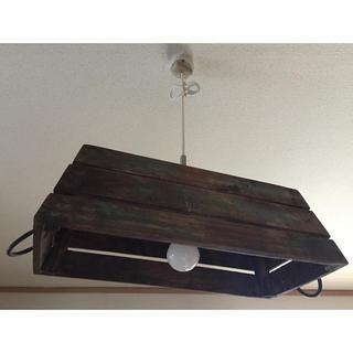 【美品】定価¥15223 アンティーク加工 木箱 ランプシェード  インスタ映え(天井照明)