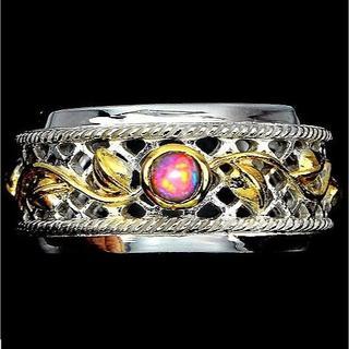 新品 ★鑑別書付★14号 天然ブラックオパール ゴールドツートンカラー 指輪(リング(指輪))
