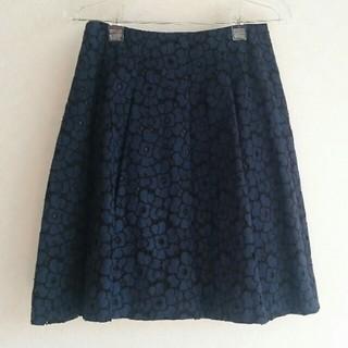 アナイ(ANAYI)のアナイ 紺 起毛レースフレアースカート(ひざ丈スカート)