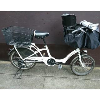 シマノ(SHIMANO)のママフレロック 自転車 こどものせ 前乗せ 2018年購入 レインカバーつき(自転車)