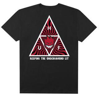 ハフ(HUF)の 【 HUF × SPITFIRE  スピットファイヤー  BLACK Tシャツ(Tシャツ/カットソー(半袖/袖なし))