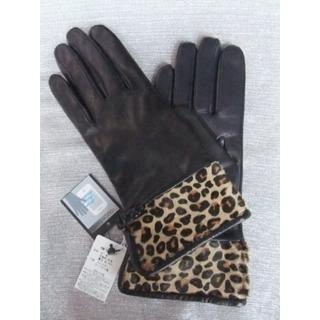 ケイタマルヤマ(KEITA MARUYAMA TOKYO PARIS)の新品タグ付◆ケイタマルヤマ◆スマホ対応 高級レザーヒョウ柄羊革手袋20cm(黒)(手袋)
