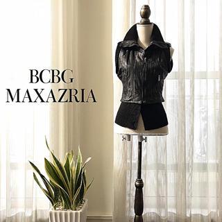 ビーシービージーマックスアズリア(BCBGMAXAZRIA)の【送料込】BGBG ラムレザーライダースベスト (ライダースジャケット)