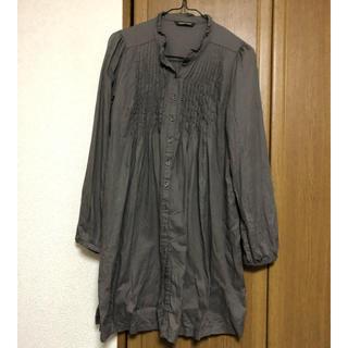 ナチュラルクチュール(natural couture)のシャツワンピース  カーキ(ミニワンピース)
