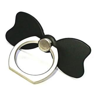スマホ ホールドリング リボン (ブラック)(ストラップ/イヤホンジャック)