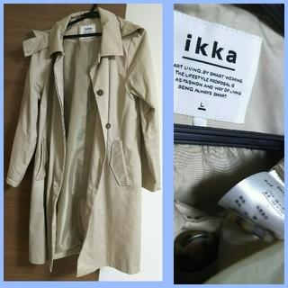 イッカ(ikka)の新品 ikka コート ジャンパー トレンチ風 L ベージュ(スプリングコート)