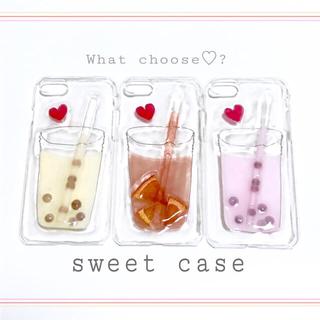 苺みるく タピオカ フェイクスイーツ 食品サンプル スマホケース iPhone(スマホケース)