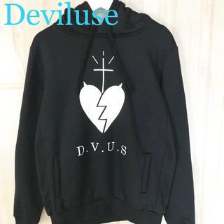 デビルユース(Deviluse)の★美品★Deviluse デビルユース パーカー 黒 メンズ M DVUS ロゴ(パーカー)