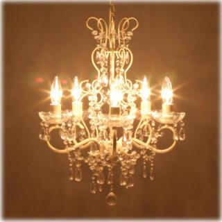 電球付き 5灯  アンティーク調 シャンデリア ホワイトクリーム(天井照明)