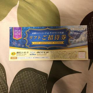 高鷲スノーパーク&ダイナランド リフト券 1枚(ウィンタースポーツ)