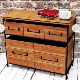 新品 アイアンウッドマルチラック シェルフ 棚 引き出し 収納 北欧 小物入れ(家具)