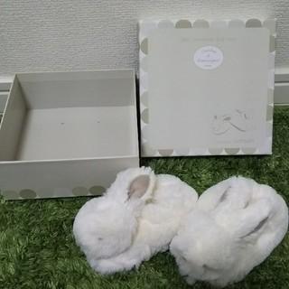 6-12ヵ月 ウサギ型ファーシューズ(その他)