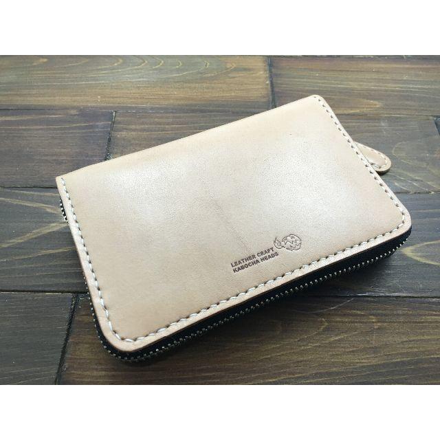 ラウンドファスナーミドルウォレット【ナチュラル】 ハンドメイドのファッション小物(財布)の商品写真