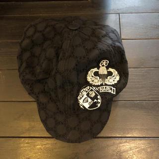 スナールエクストラ(Snarl extra)のハンチング帽 黒 ブラック ワッペン(ハンチング/ベレー帽)