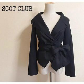 スコットクラブ(SCOT CLUB)のSCOT CLUB カシュクールジャケット 黒  サイズ9(テーラードジャケット)