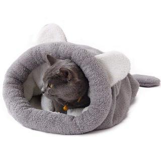 【送料無料!】人気♡猫用 小型犬用 寝袋 ポケット グレー