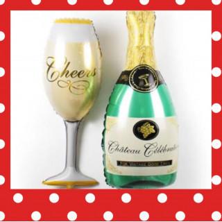 @パーティーにピッタリ@シャンパン&グラスのバルーンセット@(その他)