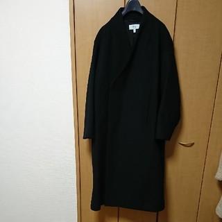 ハイク(HYKE)のHYKE ノーカラー コート ネイビー サイズ2 美品 ハイク(ノーカラージャケット)