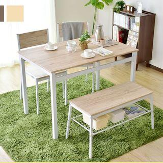 木目調 ダイニングテーブル ベンチ セット(ダイニングテーブル)