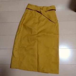 イッカ(ikka)の【ikka】 ラップスカート イエロー マスタード ユニクロ、イング好きにも(ひざ丈スカート)