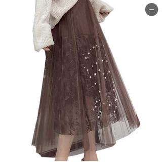 アクシーズファム(axes femme)のチュールスカート キラキラ 花柄 ビジュー付(ロングスカート)