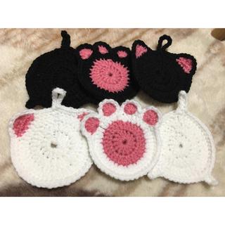 コースター 黒猫、白猫set(キッチン小物)