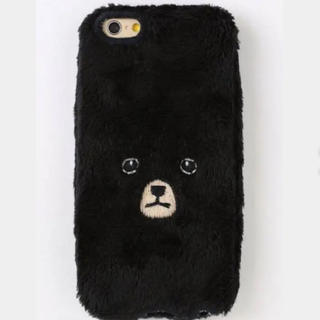 くまiPhoneカバー ブラック 【iPhone7&iPhone6/6S対応】(スマホケース)