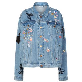 VETEMENTS sticker oversized denim jacket(Gジャン/デニムジャケット)