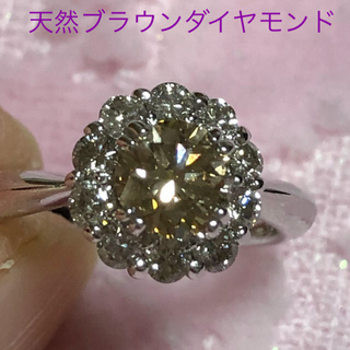 Alfred様 k18WG ✨天然ブラウン ダイヤモンドリング 1ct(リング(指輪))