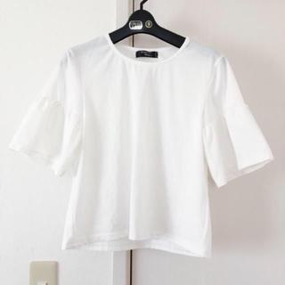 シマムラ(しまむら)のワイド ボリューム 袖 uネック ホワイト 白 tシャツ(Tシャツ(半袖/袖なし))
