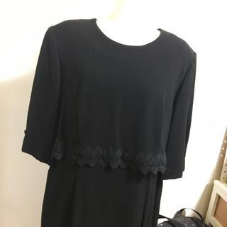 大きいサイズ17号ブラックフォーマルワンピース(礼服/喪服)