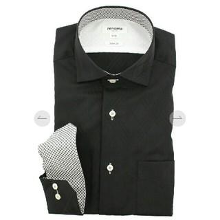 レノマ(RENOMA)の柄入り 格子柄 チェック 綿100%スリムフィットワイシャツ 黒 ブラック(シャツ)
