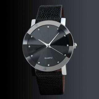 MB003 送料無料♪ファッション腕時計!レザーバンドウォッチ 黒(腕時計)