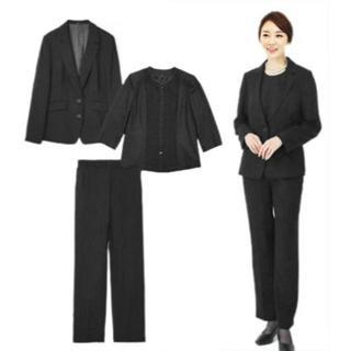 『新品』(21号)ウール100%★ブラックフォーマルパンツスーツ3点セット(礼服/喪服)