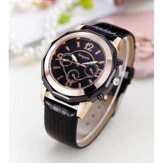 MC066 送料無料♪豪華ゴールドフレーム腕時計ウォッチ黒面×黒ベルト(腕時計)