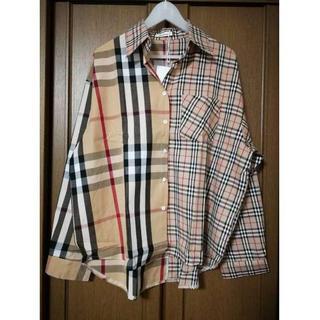 男女兼用 オルチャンツギハギ チェックシャツ  新品(シャツ)