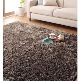 シャギーラグ センターラグ 絨毯 ダイニングラグ 手洗い ブラウン ココア(ラグ)