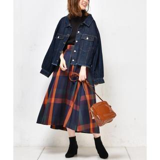 ナチュラルクチュール(natural couture)のBIGチェックフレアスカート(ロングスカート)