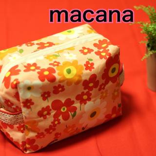 macana☆ハンドメイド☆オムツポーチ☆ピンク花柄☆(ベビーおむつバッグ)