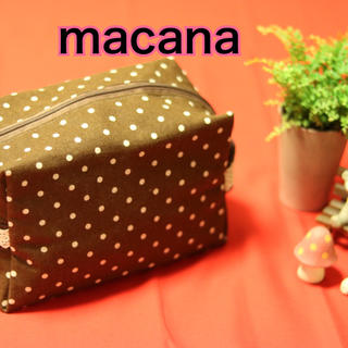macana☆ハンドメイド☆布製オムツポーチ☆チョコドット柄☆(ベビーおむつバッグ)