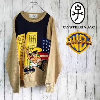 カステルバジャック(CASTELBAJAC)の【一点物】カステルバジャック デザインニットセーター L 刺繍 ワーナー(ニット/セーター)