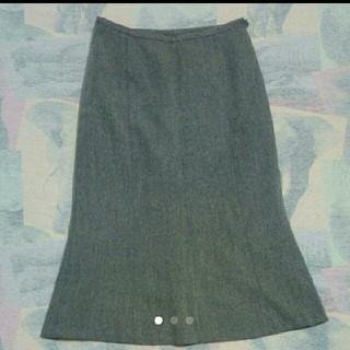 ナイスクラップ(NICE CLAUP)のNICE CLAUP ウール 膝丈スカート グレー(ひざ丈スカート)